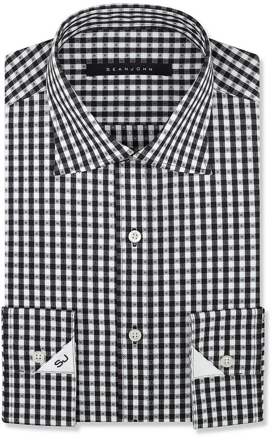 white and black gingham dress shirt sean john black and
