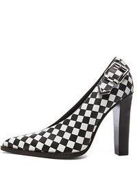Leather heels in check medium 53743