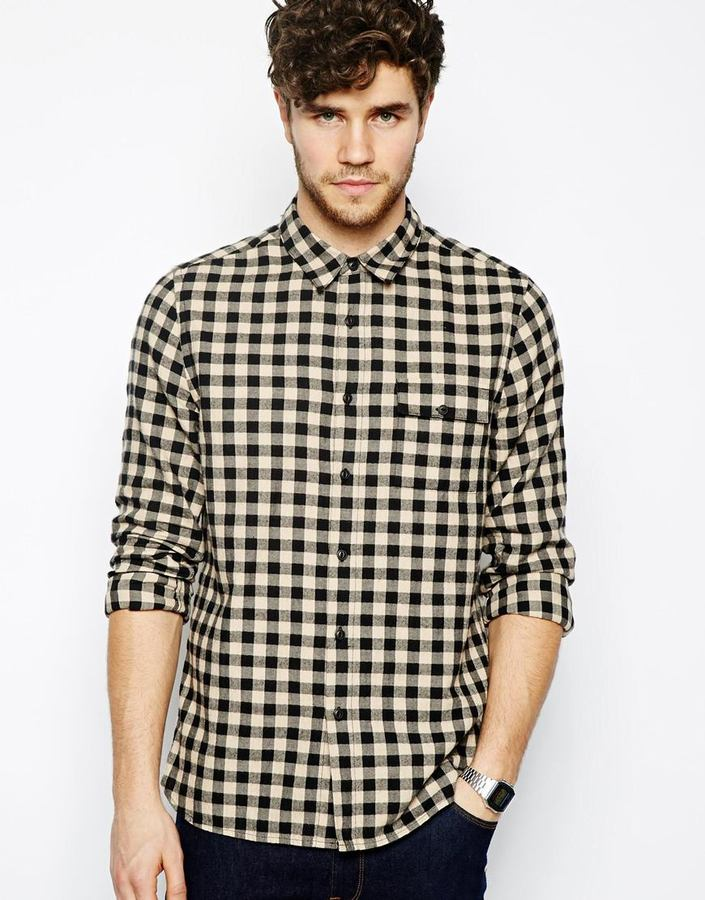 Asos Check Shirt In Long Sleeve With Ecru And Black Gingham ...