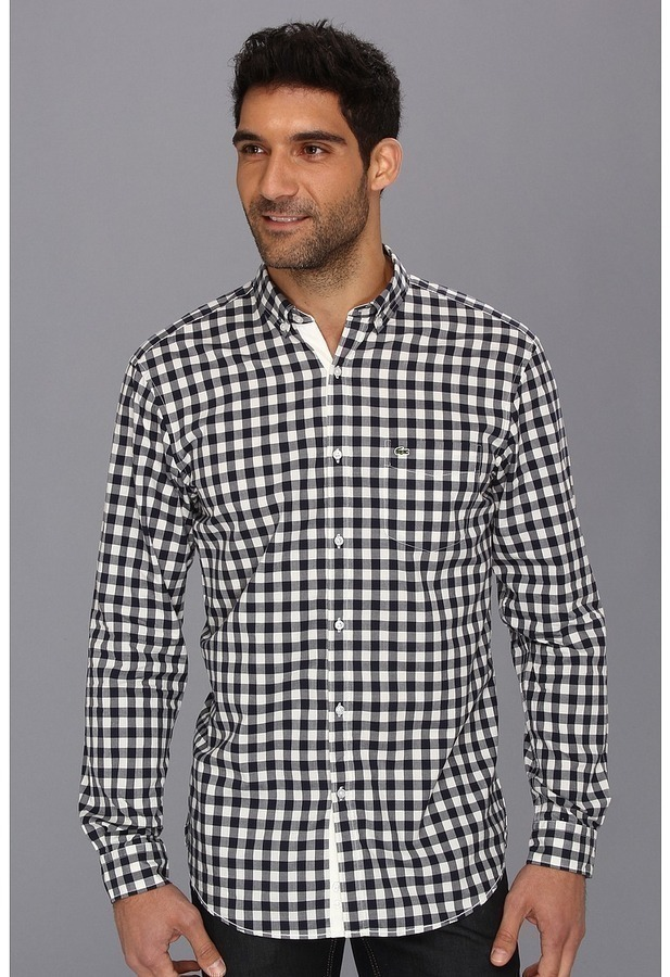 Lacoste Ls Button Down Large Gingham Poplin Shirt | Where to buy ...