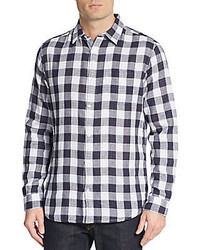Saks Fifth Avenue Slim Fit Double Face Gingham Check Sportshirt