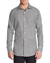 Slim fit gingham check cotton sportshirt medium 201784