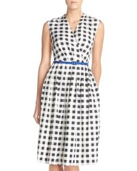 White and Black Gingham Midi Dress