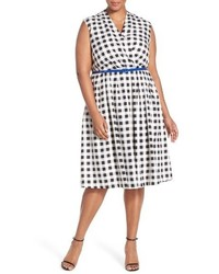 Ellen Tracy Plus Size Belted Gingham Print Surplice Fit Flare Dress