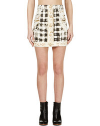 Balmain Yellow Black Chain Print Short Skirt
