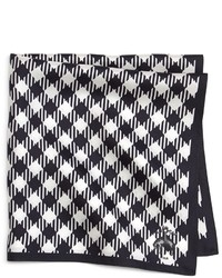 White and Black Gingham Pocket Square