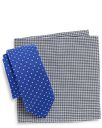 Original Penguin Alba Polka Dot Tie Gingham Pocket Square Set