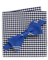 Original Penguin Alpine Striped Bow Tie Gingham Pocket Square Set