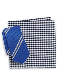 Original Penguin Alpine Striped Tie Gingham Pocket Square Set