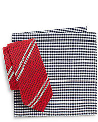 Original Penguin Alpine Striped Tie Micro Gingham Pocket Square Set