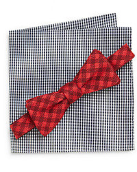 Original Penguin Lancer Tonal Check Bow Tie Gingham Pocket Square Set