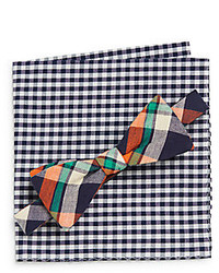 Original Penguin Luther Plaid Bow Tie Gingham Pocket Square Set