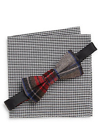Original Penguin Nixon Plaid Bow Tie Gingham Pocket Square Set