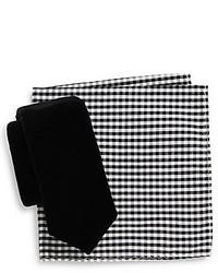 Original Penguin Velvet Tie Gingham Pocket Square Set