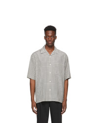 Solid Homme White Check Camp Short Sleeve Shirt