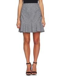 CeCe Floral Gingham Ruffle Cotton Mini Skirt