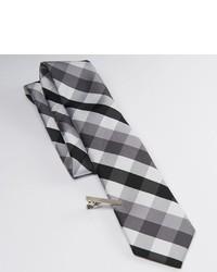 Apt. 9 Gingham Plaid Skinny Tie Tie Bar Set