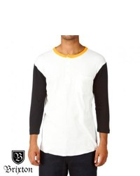 Brixton Detroit Henley Long Sleeve T Shirt Whiteblack