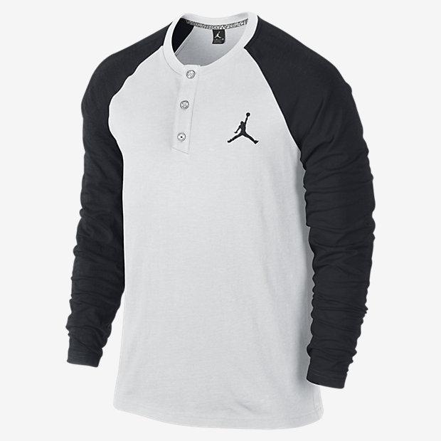 Nike jordan long sleeve henley shirt where to buy how for Black long sleeve henley shirt