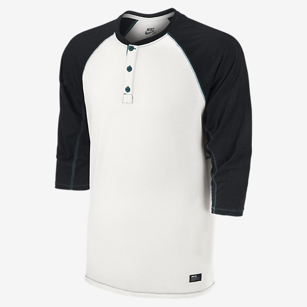 Men's Fashion › T-shirts › Henley Shirts › White and Black Henley Shirts  Nike Sb Dri Fit 34 Sleeve Speckle Henley Shirt ...
