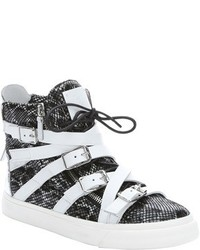 Black and white snake effect leather london high top sneakers medium 566042