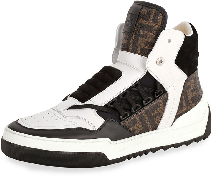 6110c3bb $950, Fendi Tank Zucca Print Leather High Top Sneaker Whitebluebrown