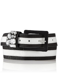 White and Black Horizontal Striped Belt