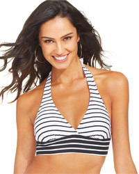 Anne Cole Striped Two Tone Halter Bikini Top