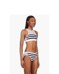 T by Alexander Wang White Striped Mesh Racerback Bikini Top