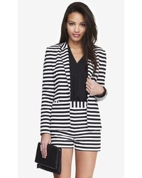 White and Black Horizontal Striped Blazer