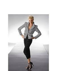 BODYFLIRT Striped Blazer In Blackwhite Striped Size 14