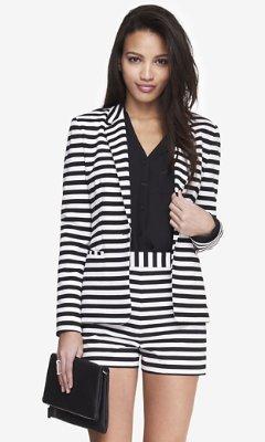 Women S Fashion Blazers White And Black Horizontal Striped Express 24 Inch Stripe Knit Blazer