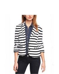 Express Striped Stretch Cotton Blazer White X Small