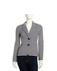 Neiman Marcus Striped Jersey Knit Blazer Blackwhite