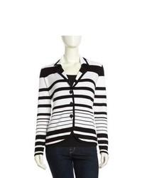Neiman Marcus Three Button Striped Knit Blazer Blackwhite