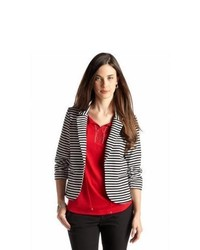 New Directions Petite Striped Ponte Blazer With Ruched Sleeves
