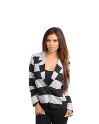 Stanzino Striped Long Sleeve Single Button Blazer