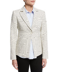 Striped textured single button blazer white medium 1252264