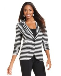 Style&co. Three Quarter Sleeve Striped Blazer