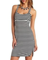 White and Black Horizontal Striped Bodycon Dress
