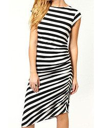 Romwe Asymmetric Striped Black White Bodycon Dress