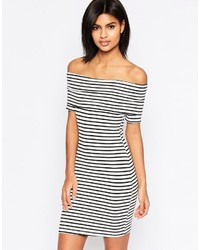 Mini bardot off shoulder dress in stripe with short sleeve medium 1327540