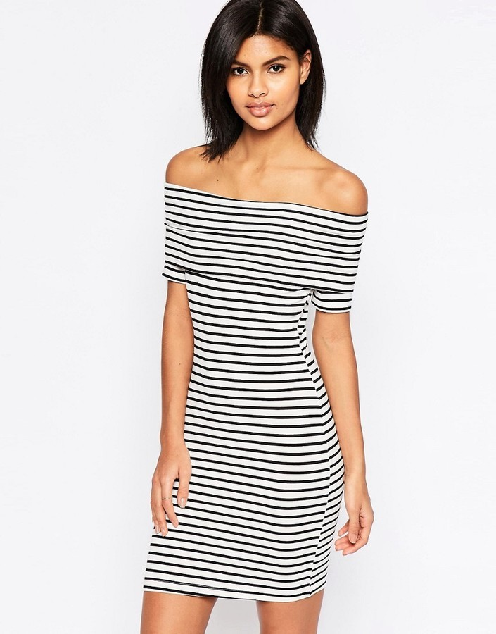 625a78ec731c ... Asos Mini Bardot Off Shoulder Dress In Stripe With Short Sleeve ...