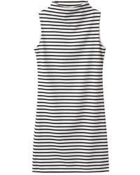 Romwe Turtleneck Sleeveless Striped Dress