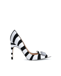 White and Black Horizontal Striped Calf Hair Pumps