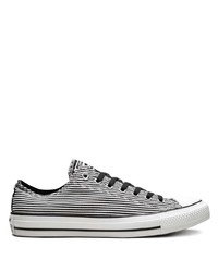 White and Black Horizontal Striped Canvas Low Top Sneakers