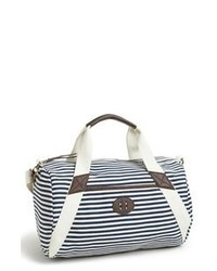 White and Black Horizontal Striped Canvas Tote Bag