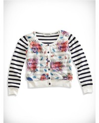 GUESS Floral Stripe Cardigan