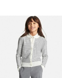 Uniqlo Girls Uv Cut Striped Crew Neck Cardigan