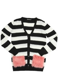 Oversized Striped Wool Blend Cardigan